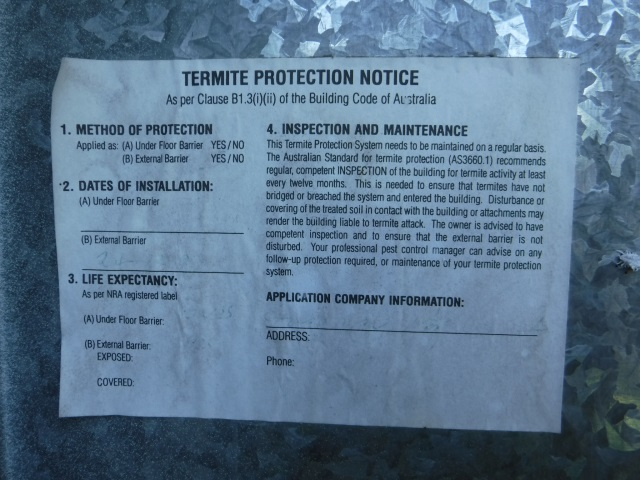 Stony Creek Termite Notice